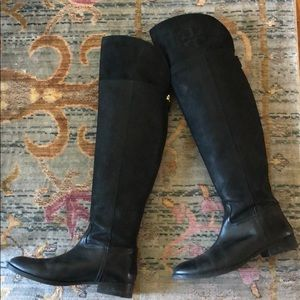 Tory Burch black leather boots, gently used